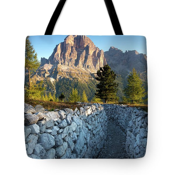 Wwi Trenches - Dolomites Tote Bag by Brian Jannsen