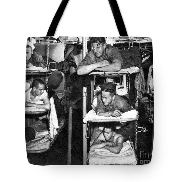 Wwii, Usn Sailors In Bunks, 1943 Tote Bag