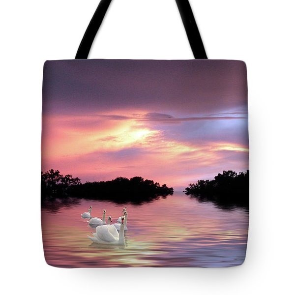 Sunset Swans Tote Bag