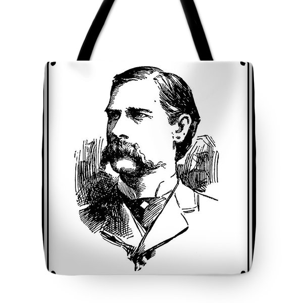 Tote Bag featuring the mixed media Wyatt Earp Newspaper Portrait  1896 by Daniel Hagerman