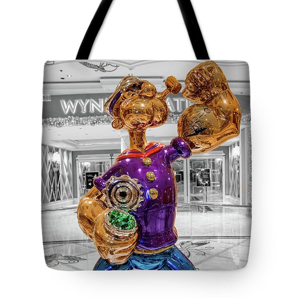 Wynn Popeye Statue Black White And Color By Jeff Koons Tote Bag