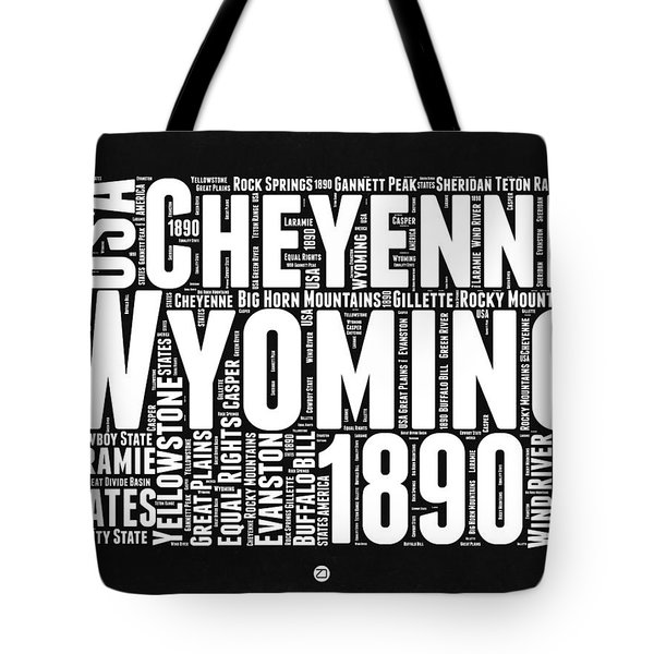 Wyoming Black And White Word Cloud Map Tote Bag by Naxart Studio