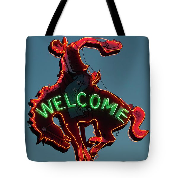 Wyoming Cowboy Vintage Neon Sign Tote Bag