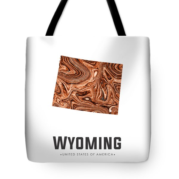 Wyoming Map Art Abstract In Brown Tote Bag