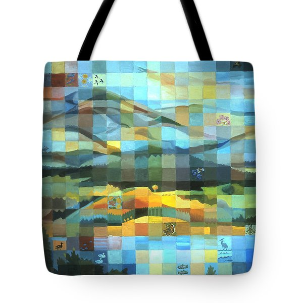 Tote Bag featuring the painting Wyoming Quilt by Dawn Senior-Trask