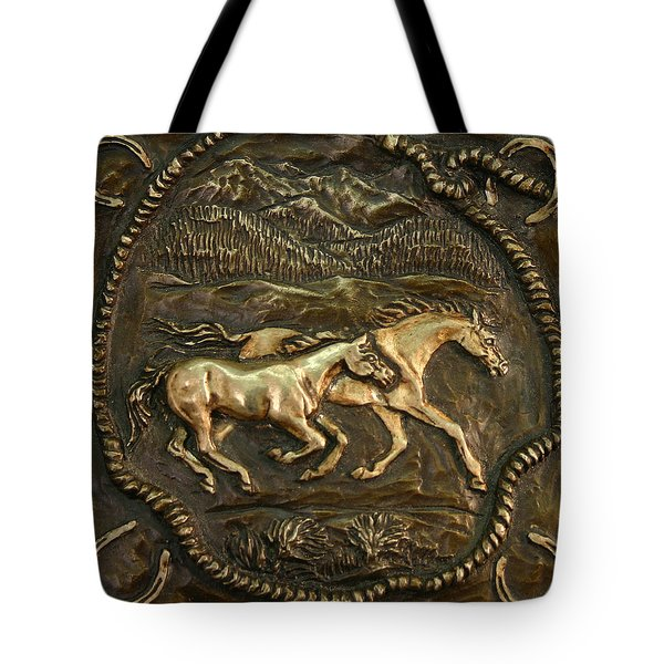 Tote Bag featuring the sculpture Wyoming Ranch Horses by Dawn Senior-Trask