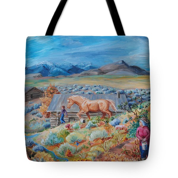 Wyoming Ranch Scene Tote Bag by Dawn Senior-Trask