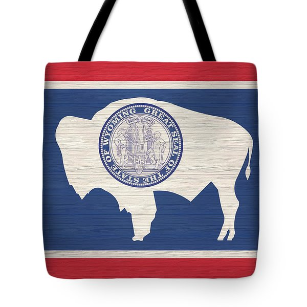 Wyoming Rustic Flag On Wood Tote Bag