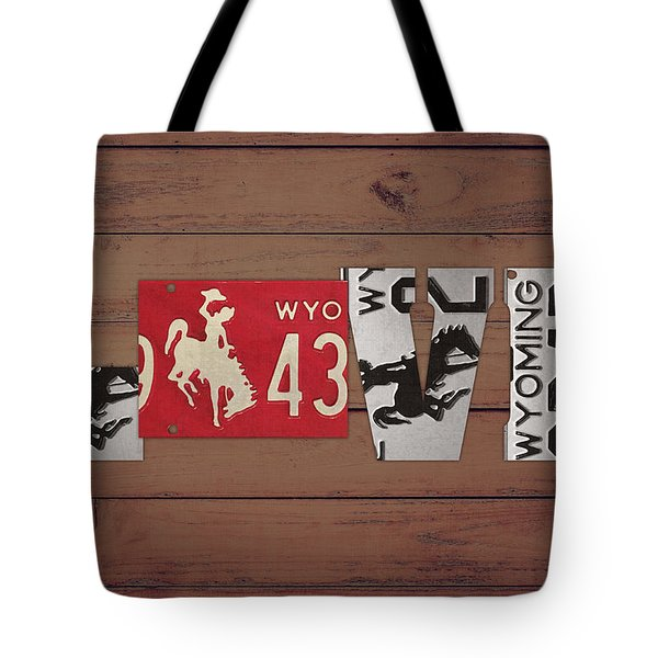 Wyoming State Love Heart License Plates Art Phrase Tote Bag