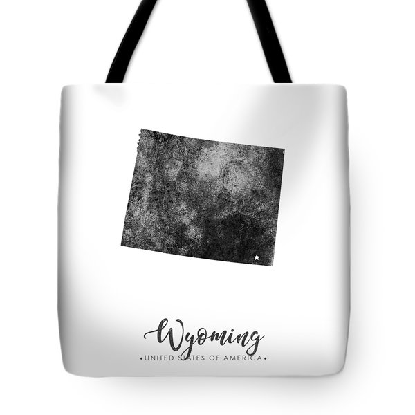 Wyoming State Map Art - Grunge Silhouette Tote Bag