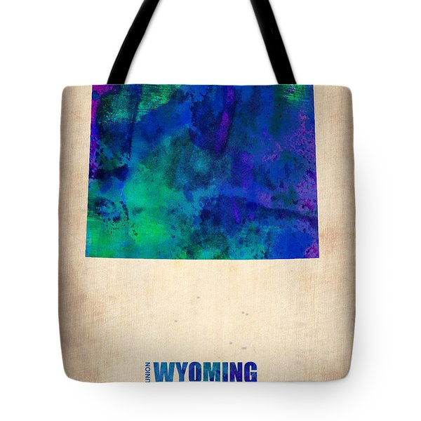 Wyoming Watercolor Map Tote Bag by Naxart Studio