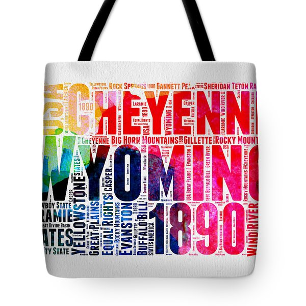 Wyoming Watercolor Word Cloud Map Tote Bag by Naxart Studio