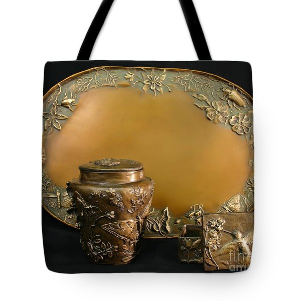 Tote Bag featuring the sculpture Wyoming Wildflowers Bronzes by Dawn Senior-Trask