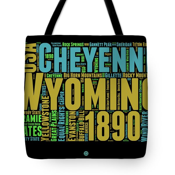 Wyoming Word Cloud Map 1 Tote Bag by Naxart Studio
