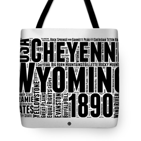 Wyoming Word Cloud Map 2 Tote Bag by Naxart Studio