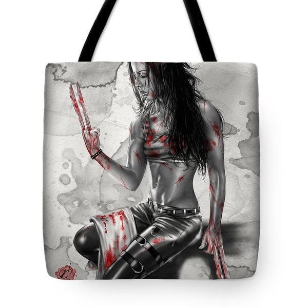 Tote Bag featuring the painting X23 by Pete Tapang