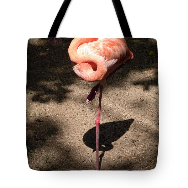 Tote Bag featuring the photograph Xcaret Mexico Sleeping Flamingo by Dianne Levy