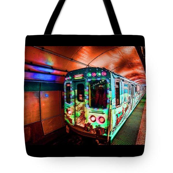 Xmas Subway Train Tote Bag