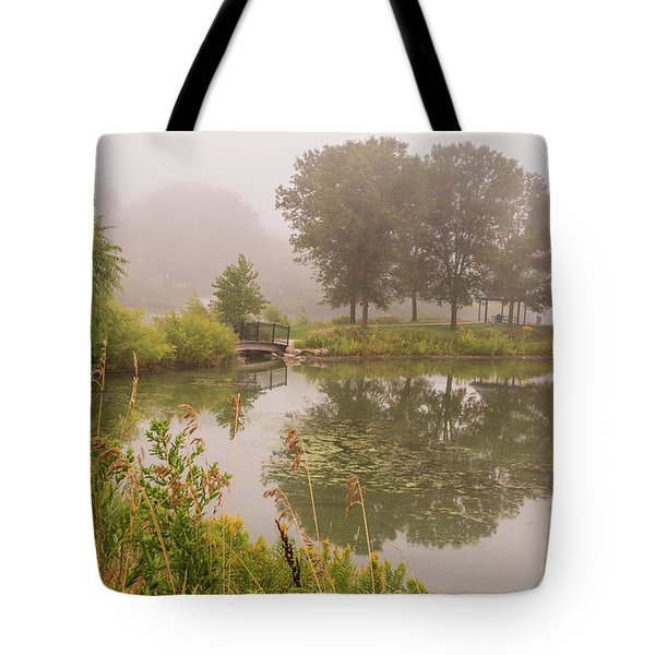 Tote Bag featuring the photograph Misty Pond Bridge Reflection #5 by Patti Deters