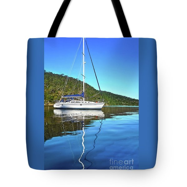 Tote Bag featuring the photograph Yacht Reflecting By Kaye Menner by Kaye Menner
