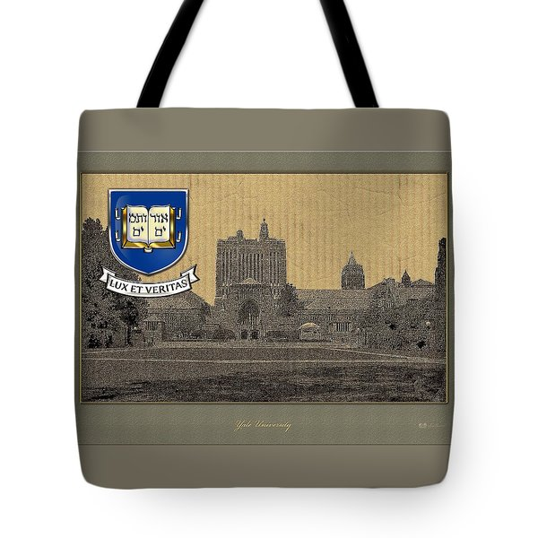 Yale University Building With Crest Tote Bag