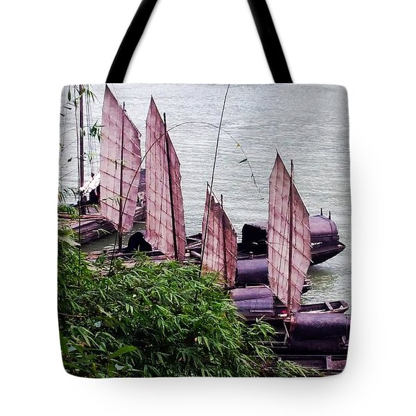 Tote Bag featuring the photograph Yangtze Boats by Vicky Tarcau