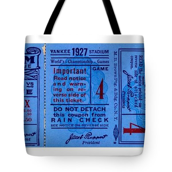 Tote Bag featuring the drawing Yankee Stadium 1927 World Series Ticket Babe Ruth Game by Peter Gumaer Ogden