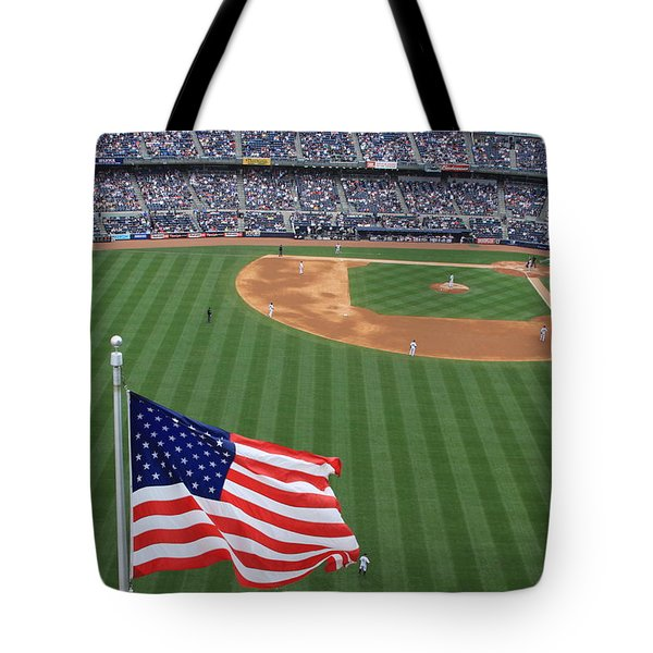 Yankee Stadium Flag Tote Bag