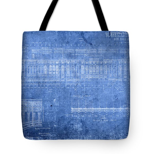 Yankee Stadium New York City Blueprints Tote Bag by Design Turnpike
