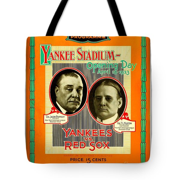 Tote Bag featuring the painting Yankee Stadium Opening Day Program by Peter Gumaer Ogden Collection
