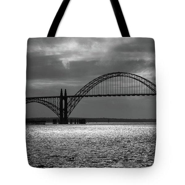 Yaquina Bay Bridge Black And White Tote Bag
