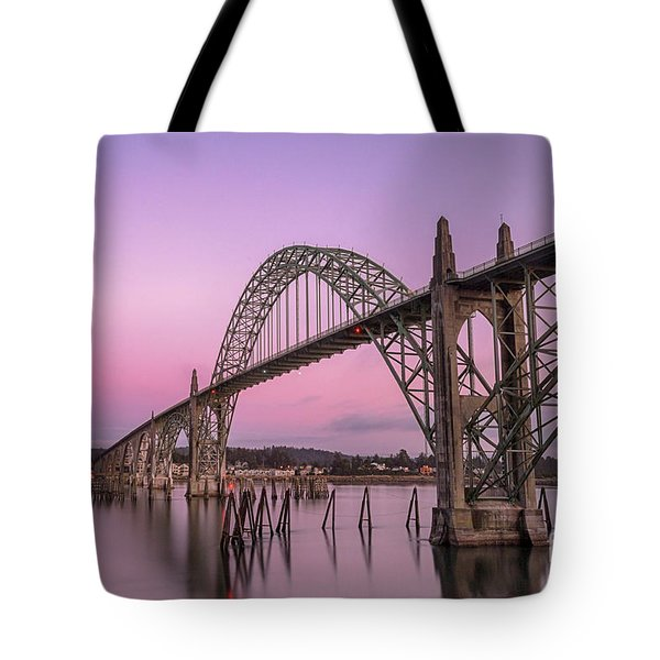 Yaquina Bay Bridge In Blue Light Tote Bag