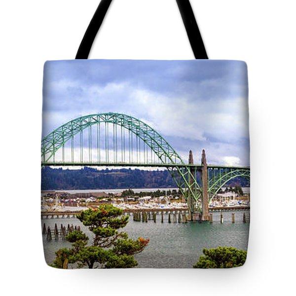 Yaquina Bay Bridge Panorama Tote Bag