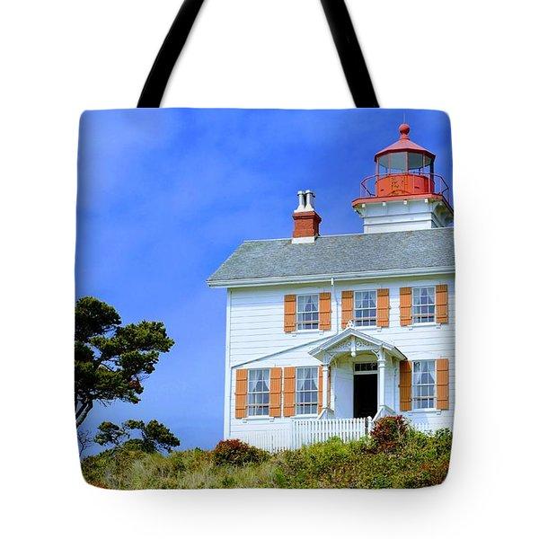 Yaquina Bay Lighthouse Tote Bag by AJ Schibig
