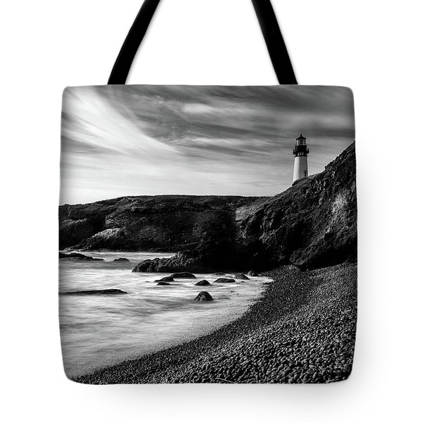 Yaquina Head Lighthouse 1 Black And White Tote Bag