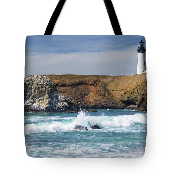 Yaquina Head Lighthouse On The Oregon Coast Tote Bag