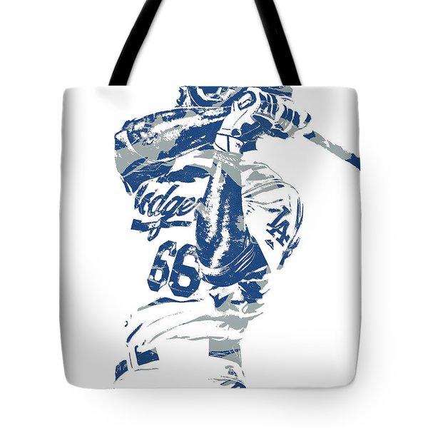 Yasiel Puig Los Angeles Dodgers Pixel Art 10 Tote Bag