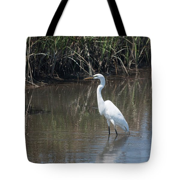 Yawkey Wildlife Refuge - Great White Egret II Tote Bag by Suzanne Gaff