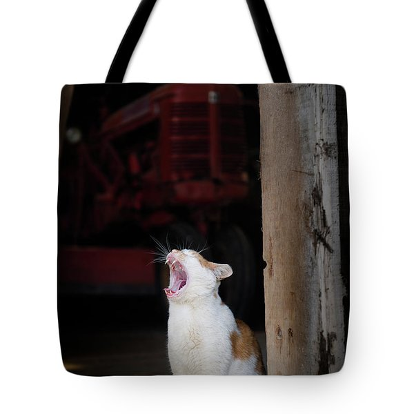 Tote Bag featuring the photograph Yawning Barn Cat And Tractor by Dennis Dame