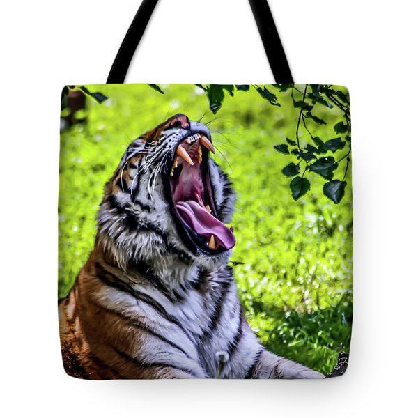 Tote Bag featuring the photograph Yawning Tiger by Joann Copeland-Paul