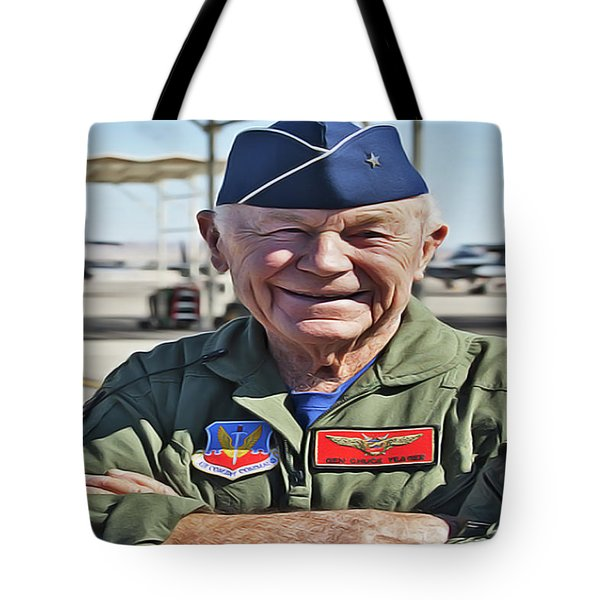 Tote Bag featuring the painting Yeager by Harry Warrick