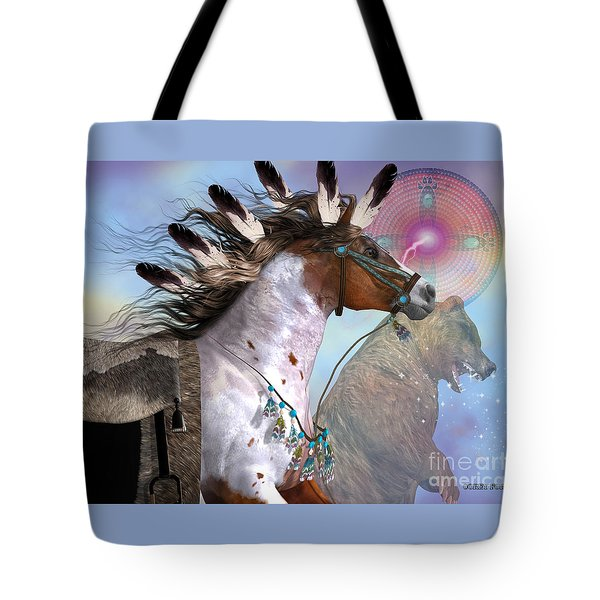 Year Of The Bear Horse Tote Bag by Corey Ford