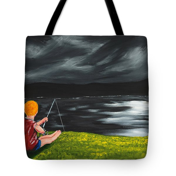 Tote Bag featuring the painting Yel No Catch A Kelpie Wi That by Scott Wilmot
