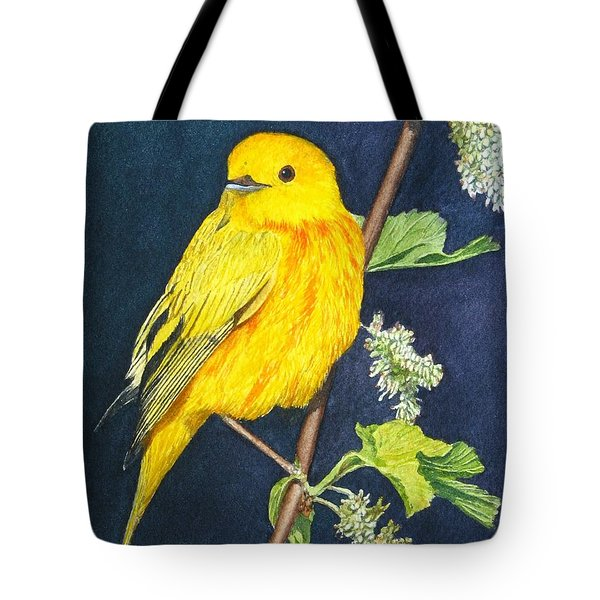 Yelllow Warbler Tote Bag by Sharon Farber