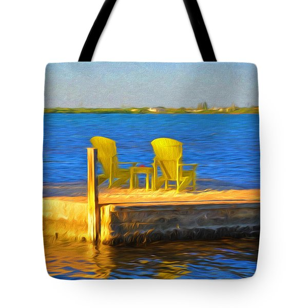 Yellow Adirondack Chairs On Dock In Florida Keys Tote Bag