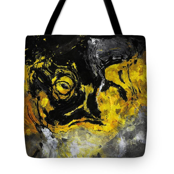 Tote Bag featuring the painting Yellow And Black Abstract Art by Ayse Deniz