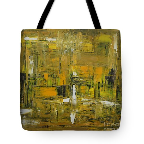 Yellow And Black Abstract Tote Bag