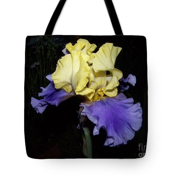 Yellow And Blue Iris Tote Bag by Kathy McClure