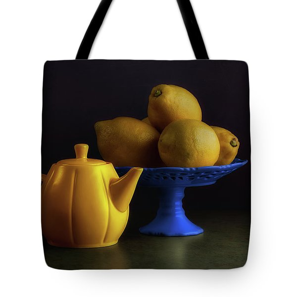 Yellow And Blue Still Life Tote Bag