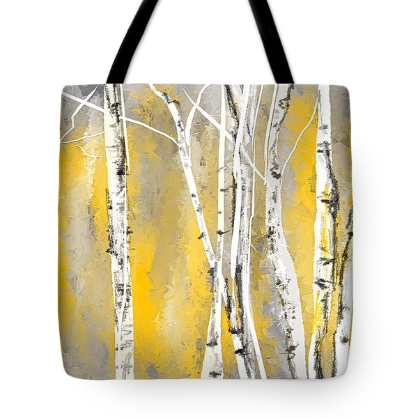 Yellow And Gray Birch Trees Tote Bag